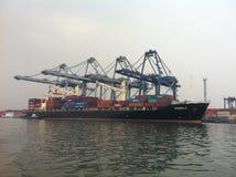 Ladda och lasta av behållaren på Tanjung Priok port Royaltyfri Foto