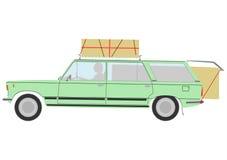 Laddad retro herrgårdsvagnbil. vektor illustrationer