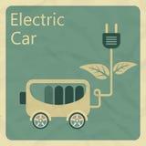 laddande elkraft för bil Plant retro stilbegrepp royaltyfri illustrationer