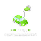 laddande elkraft för bil Symbol för Eco energibegrepp stock illustrationer