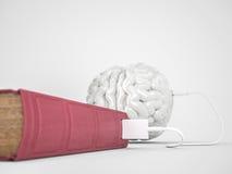 Laddande hjärnbegrepp för bok Arkivbild