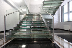 Ladder. The big ladder from glass in a hall of office building royalty free stock photos