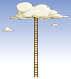 Ladder. Cartoon ladder to the clouds, vector royalty free illustration