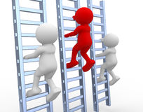 Ladder. 3d people - human character, person climbing a ladder. 3d render Royalty Free Stock Images