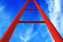 Ladder. A red ladder in the sky Royalty Free Stock Photography