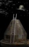 Ladder aan de maan Stock Afbeelding