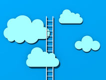 Ladder aan succes in de wolken blauwe hemel stock illustratie