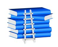 Ladder  Against a Stack of Blue Books Stock Photography