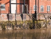 Free Ladder At Side Of River Docks Scene Outside Water No People Empty Royalty Free Stock Image - 111087236