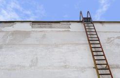 Ladder bij een muur stock afbeelding