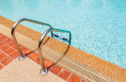Ladder and blue clear swimming pool Stock Photography