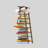 Ladder on books tower Stock Photography