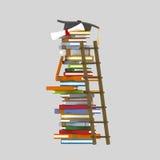 Ladder on books tower stock illustration
