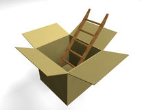 Ladder in box. A ladder in a box on white background - 3d render stock illustration