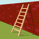 Ladder on brick wall. Illustration Royalty Free Stock Image