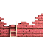 Ladder on brick wall Stock Photography