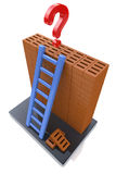 Ladder on brickwork and question mark Stock Photo