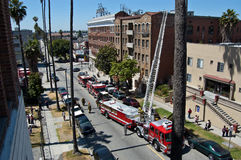 Ladder Call. LAFD called to the scene of a fire in Koreatown, Los Angeles, CA Royalty Free Stock Photos