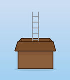 Ladder Cardboard Box Royalty Free Stock Photo