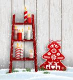 Ladder with Christmas candles and red tree decoration. Christmas theme, wooden ladder with candles and red decoration in shape of tree, in snow on dark brown royalty free illustration