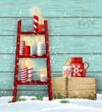 Ladder with Christmas candles, seasonal motive, illustration vector illustration