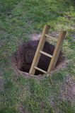 Ladder coming out of a dirt hole in the ground Royalty Free Stock Images