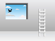 Ladder concept. With bird in front of window Royalty Free Stock Images
