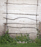 Ladder for creeper plants, wall background Stock Photos