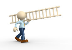 Ladder. 3d people - man, person and a ladder Royalty Free Stock Photography