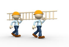 Ladder. 3d people -men, person carrying  ladder Royalty Free Stock Image