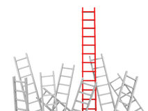Ladder. 3d red ladder and white ladder/ leader/ competition Stock Photo