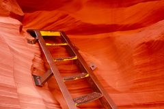 Ladder descending to lower antelope canyon Stock Images