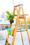 Ladder die als plank in bureau wordt gebruikt royalty-vrije stock fotografie