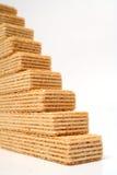 Ladder die van wafeltjes met een vanilleroom wordt gemaakt Royalty-vrije Stock Afbeelding