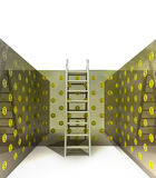 Ladder in dollar pattern painted interior concept Royalty Free Stock Photos