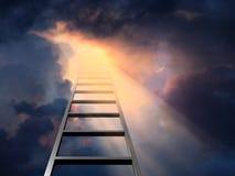 Ladder in dramatische hemel stock fotografie