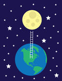 Ladder From Earth To Moon Royalty Free Stock Photo