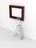 Ladder and empty frame Stock Image