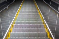 Ladder escalator close-up, metal railing Stock Photo