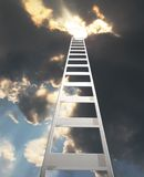 Ladder extending to a dramatic clouds Royalty Free Stock Photos