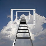 Ladder into Flat Panel Stock Photo