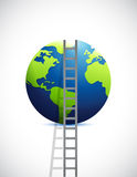 Ladder and globe. illustration design Royalty Free Stock Images