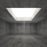 Ladder goes to the light out from dark concrete interior Stock Image