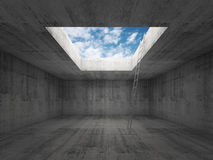 Ladder goes to the sky out from dark concrete interior, 3d Stock Photography