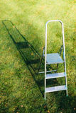 Ladder on green lawn background Stock Photo