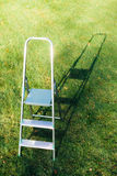 Ladder on green lawn background Stock Image