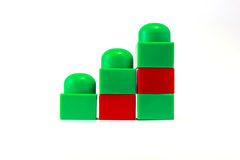 Ladder of green and red blocks. Stairs from the large plastic toy blocks of red and green Royalty Free Stock Image