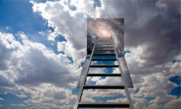 Ladder into hole in heaven Stock Photo
