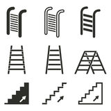 Ladder icon set. Ladder vector icons set. Black illustration isolated on white background for graphic and web design Stock Illustration