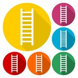 Ladder icons set with long shadow. Vector icon Royalty Free Stock Image